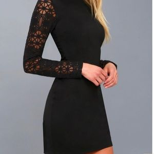 Lulus Lace Up Your Sleeve Bodycon Dress
